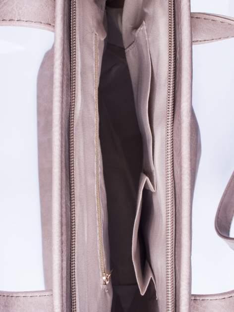 Ciemnobeżowa prosta torba shopper bag ze złotymi okuciami                                  zdj.                                  4