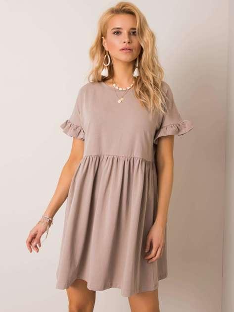 Ciemnobeżowa sukienka Marietta RUE PARIS