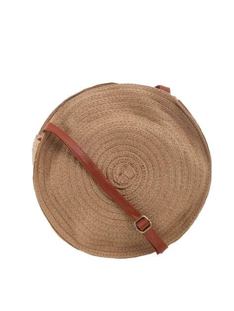 Ciemnobeżowa torebka okrągła z plecionki