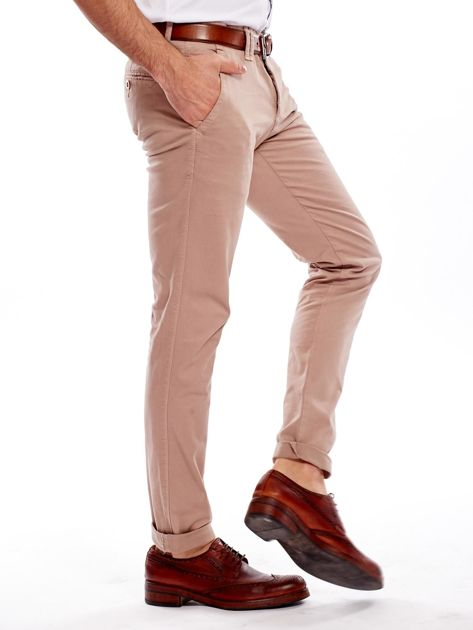 Ciemnobeżowe bawełniane spodnie męskie chinosy                                   zdj.                                  8