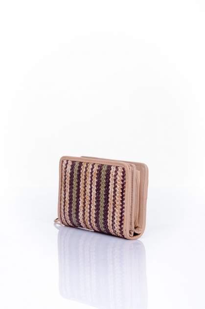 Ciemnobeżowy portfel z plecionkowym wykończeniem                                  zdj.                                  2