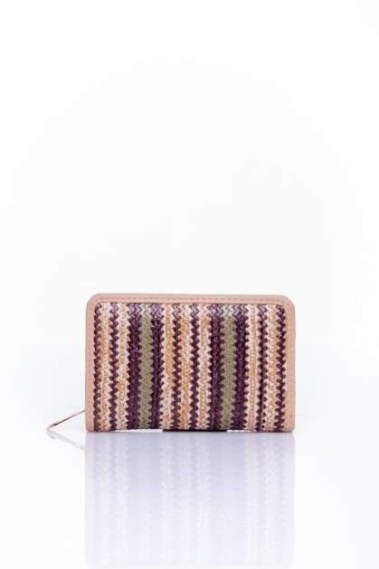 Ciemnobeżowy portfel z plecionkowym wykończeniem