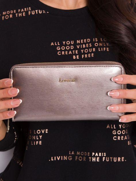 Ciemnobeżowy skórzany portfel