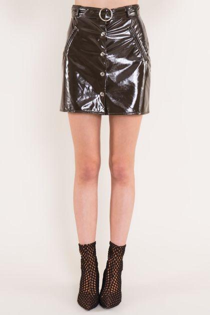 Ciemnobrązowa mini spódnica BSL