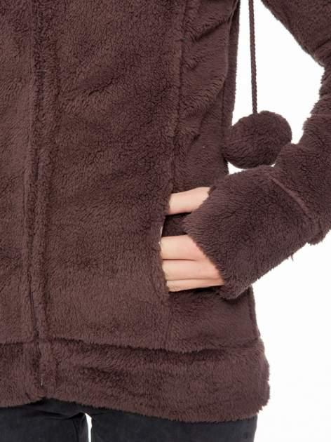 Ciemnobrązowa polarowa bluza miś z kapturem z uszkami i pomponami                                  zdj.                                  8