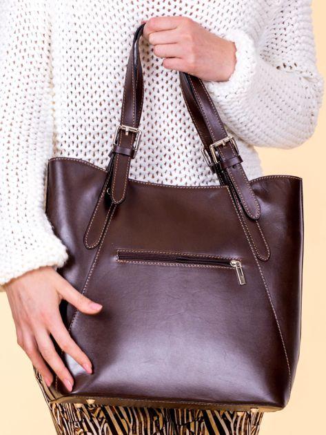 Ciemnobrązowa skórzana torba shopper bag                              zdj.                              3