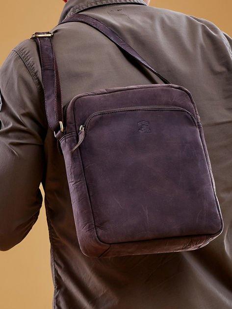 Ciemnobrązowa torba męska skórzana na ramię                              zdj.                              5