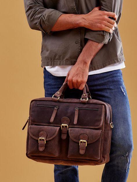 Ciemnobrązowa torba męska z odpinanym paskiem                              zdj.                              2