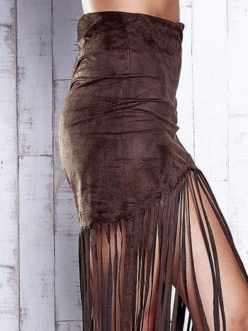 Ciemnobrązowa zamszowa spódnica z frędzlami                                  zdj.                                  6