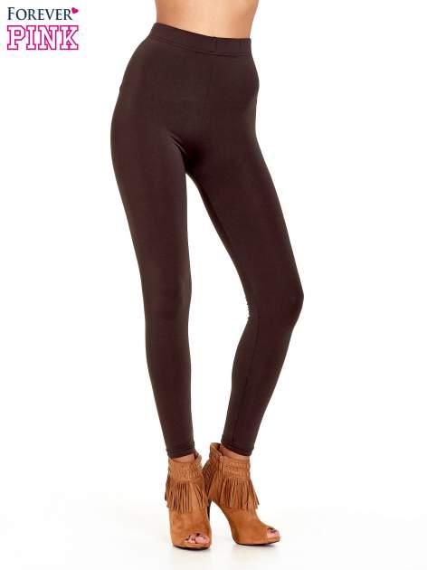 Ciemnobrązowe legginsy basic z lekkim ociepleniem