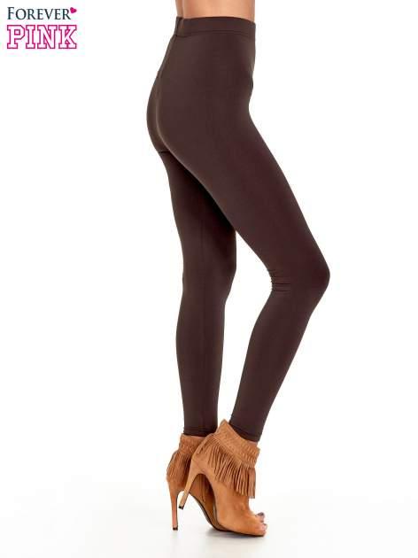 Ciemnobrązowe legginsy basic z lekkim ociepleniem                                  zdj.                                  3