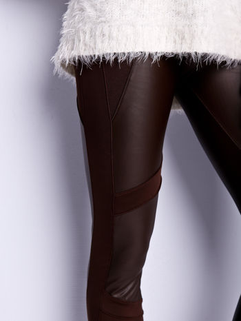 Ciemnobrązowe legginsy modelujące ze skórzanymi panelami                                  zdj.                                  4