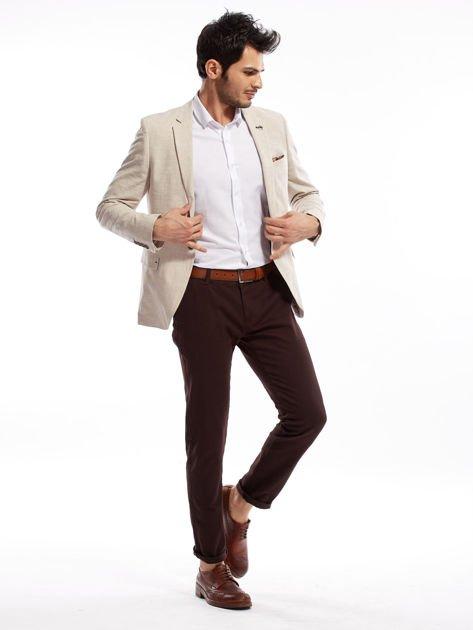 Ciemnobrązowe spodnie męskie chinos                              zdj.                              4