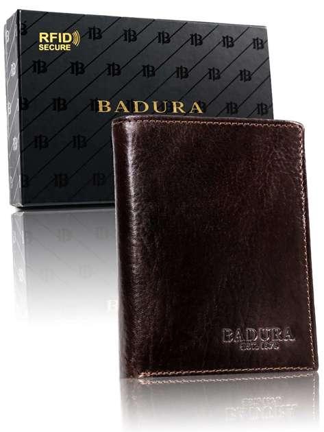 Ciemnobrązowy męski portfel skórzany BADURA