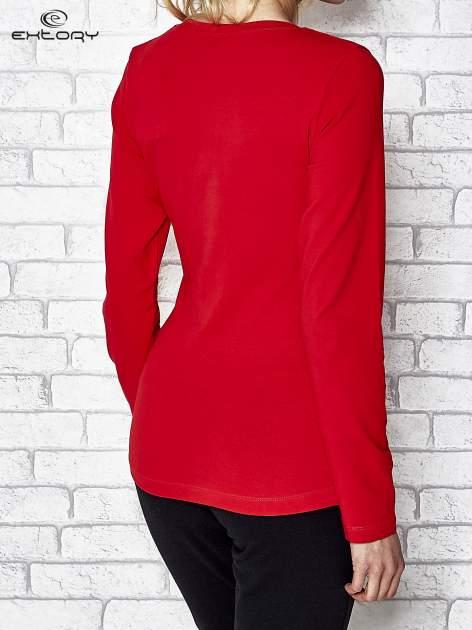 Ciemnoczerwona bluzka sportowa z dekoltem U                                  zdj.                                  4