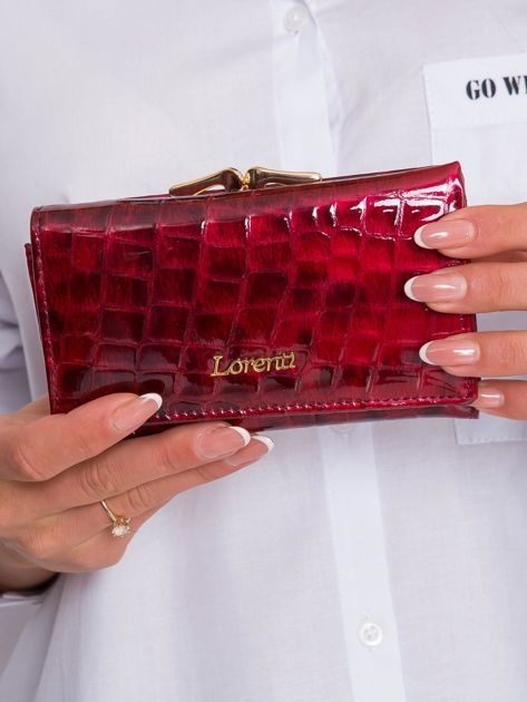 Ciemnoczerwony damski portfel z motywem zwierzęcym