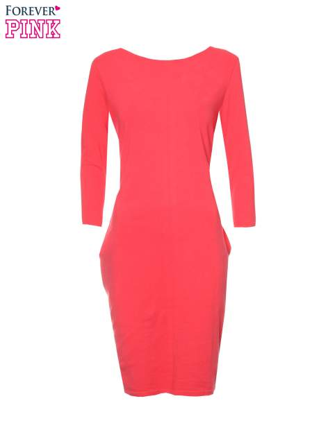 Ciemnokoralowa dresowa sukienka z kieszeniami po bokach                                  zdj.                                  5