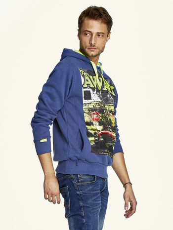 Ciemnoniebieska bluza męska z kapturem z napisem FAR AWAY                                  zdj.                                  3