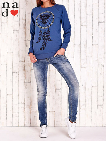 Ciemnoniebieska bluza z motywem sowy i łapacza snów                                  zdj.                                  2
