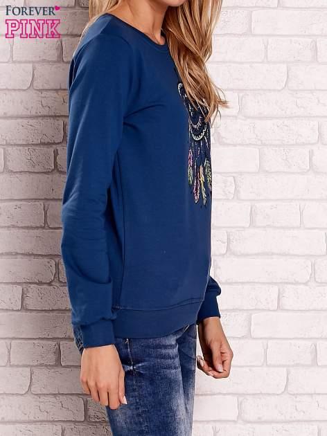 Ciemnoniebieska bluza z nadrukiem łapacza snów                                  zdj.                                  3