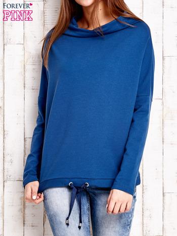 Ciemnoniebieska bluzka oversize z troczkami                                  zdj.                                  1