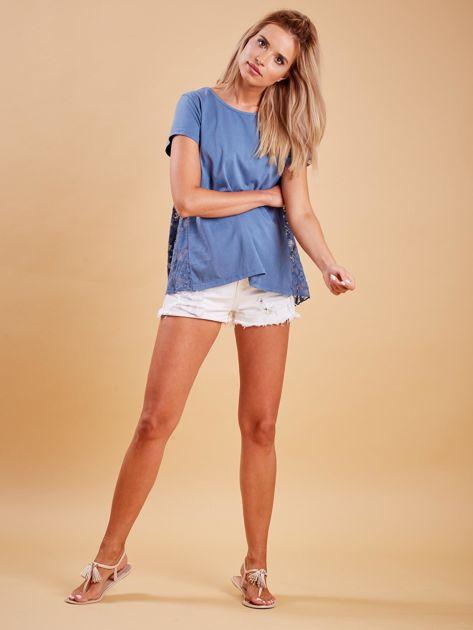 Ciemnoniebieska bluzka z koronkową wstawką na plecach                              zdj.                              4
