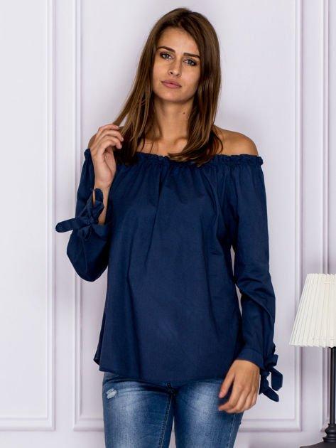 Ciemnoniebieska bluzka z wiązaniami na rękawach                                  zdj.                                  1