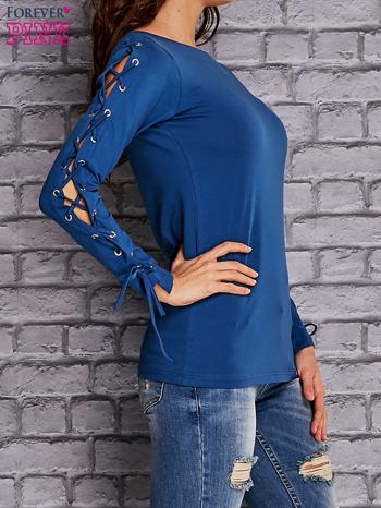 Ciemnoniebieska bluzka z wiązaniem na rękawach                                  zdj.                                  3