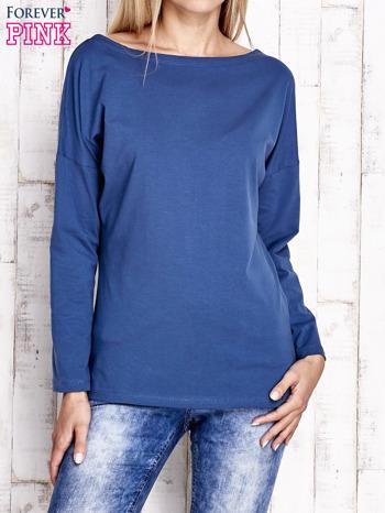 Ciemnoniebieska bluzka z wycięciem na plecach i kokardą                                  zdj.                                  1