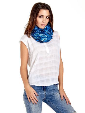 Ciemnoniebieska chusta z palmowym motywem                                   zdj.                                  1