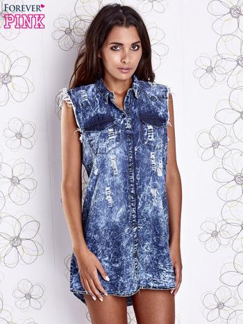 Ciemnoniebieska dekatyzowana sukienka jeansowa o kroju tuniki                                  zdj.                                  5