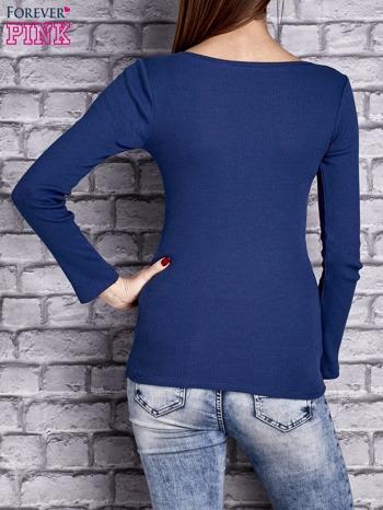 Ciemnoniebieska dopasowana gładka bluzka w prążek                                  zdj.                                  4