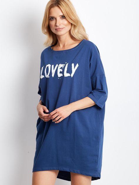 Ciemnoniebieska dresowa sukienka z aplikacją                              zdj.                              3