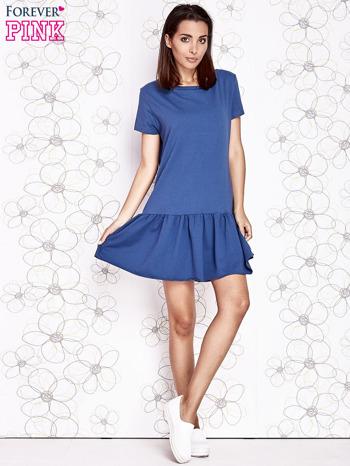 Ciemnoniebieska dresowa sukienka z wycięciem na plecach                                   zdj.                                  2