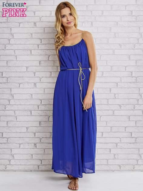 Ciemnoniebieska grecka sukienka maxi ze złotym paskiem                                  zdj.                                  2