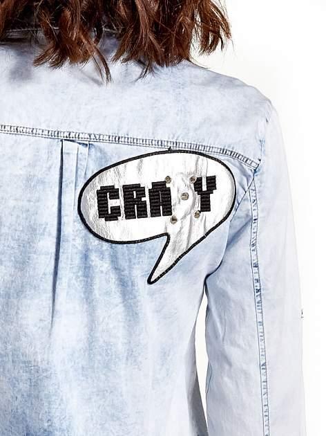 Ciemnoniebieska jeansowa koszula z naszywkami                                  zdj.                                  7