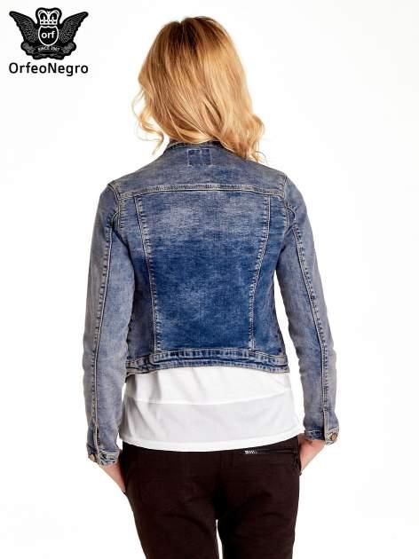 Ciemnoniebieska klasyczna kurtka jeansowa damska                                  zdj.                                  4