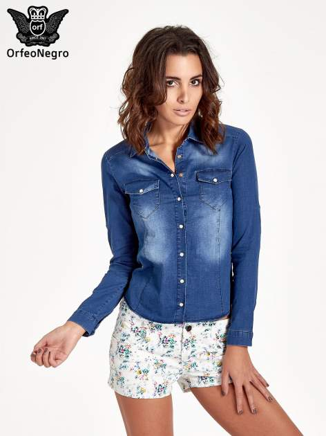 Ciemnoniebieska koszula jeansowa z cieniowaniem