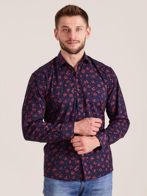Ciemnoniebieska koszula męska w roślinne wzory                              zdj.                              1