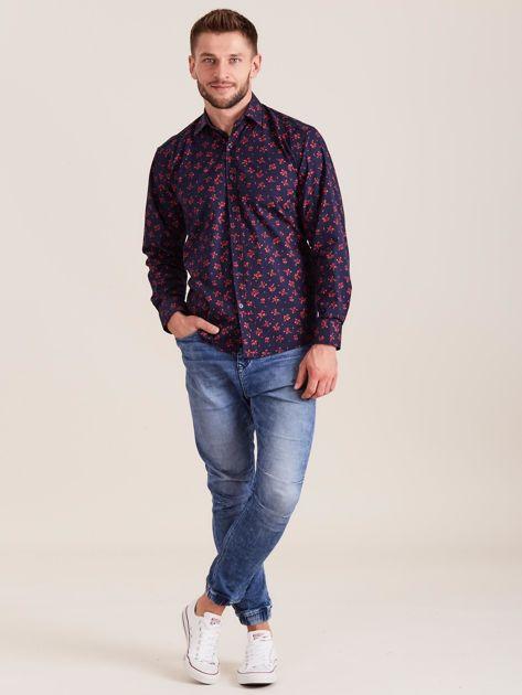 Ciemnoniebieska koszula męska w roślinne wzory                              zdj.                              4