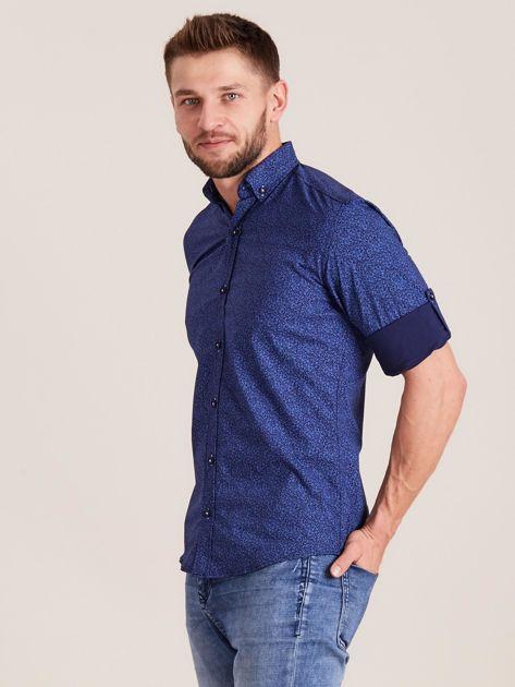Ciemnoniebieska koszula męska we wzory                              zdj.                              3