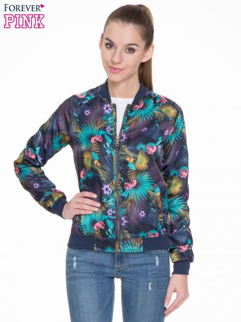 Ciemnoniebieska kurtka bomber jacket w tropical print                                  zdj.                                  1