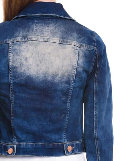 Ciemnoniebieska kurtka jeansowa damska z cieniowaniem i poszarpaniem                                  zdj.                                  7