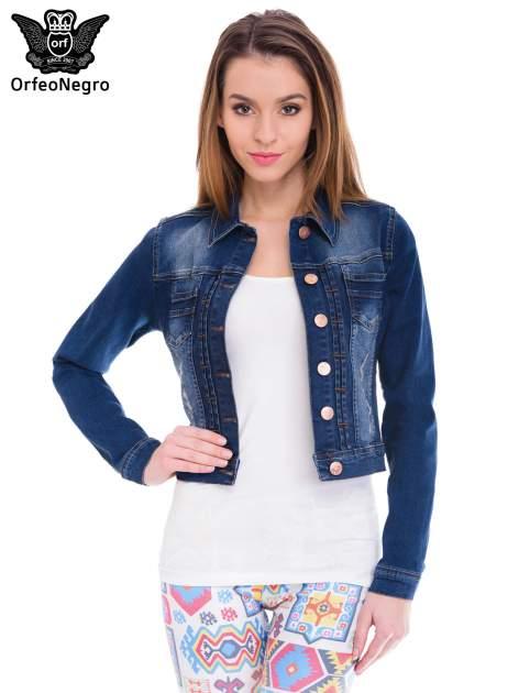 Ciemnoniebieska kurtka jeansowa damska z cieniowaniem i przetarciami                                  zdj.                                  1