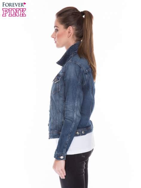 Ciemnoniebieska kurtka jeansowa z efektem przetarcia                                  zdj.                                  2