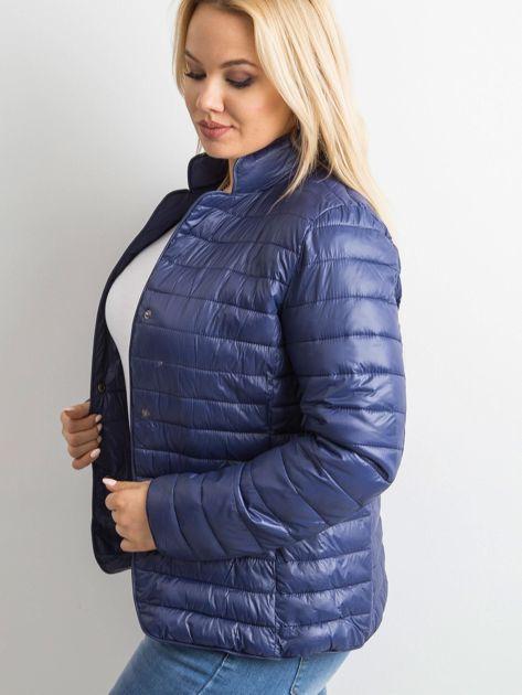 Ciemnoniebieska kurtka z pikowaniem PLUS SIZE                              zdj.                              3