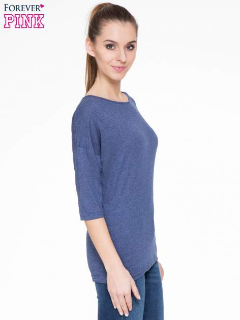 Ciemnoniebieska luźna bluzka z rękawem 3/4                                  zdj.                                  3