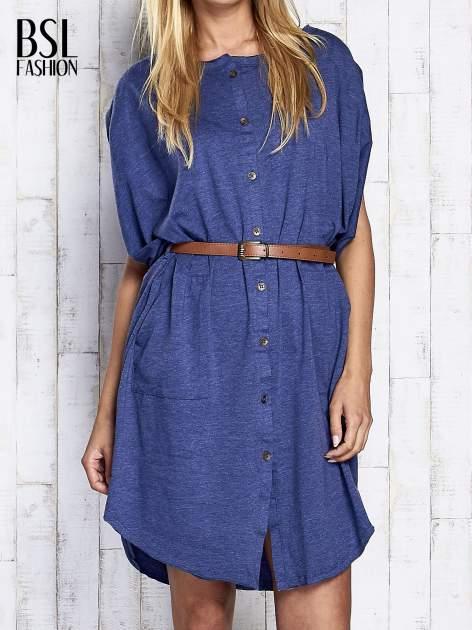 Ciemnoniebieska melanżowa sukienka oversize z guzikami                                  zdj.                                  1