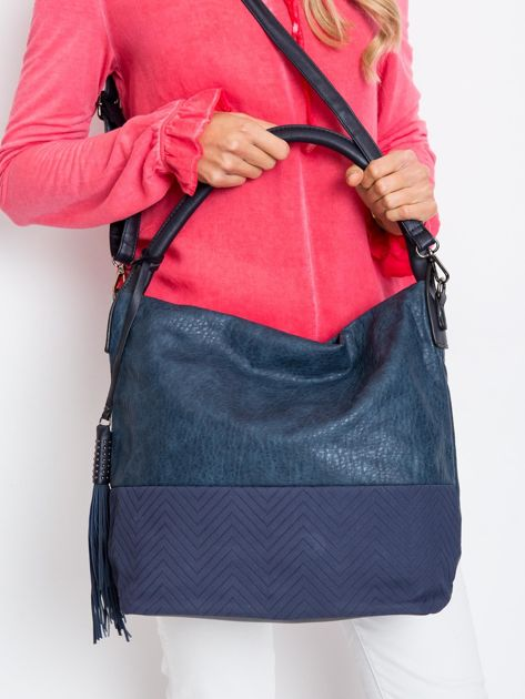 Ciemnoniebieska miękka torba na ramię