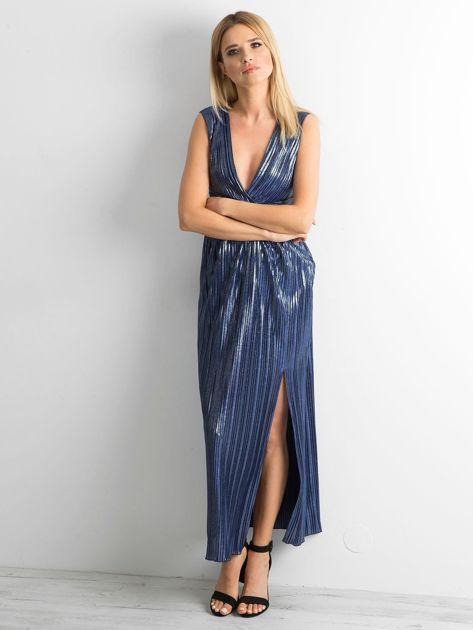 Ciemnoniebieska plisowana sukienka maxi                              zdj.                              1